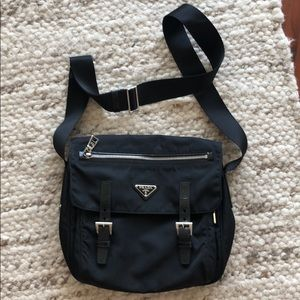 Prada Tessuto Black Nylon Messenger bag